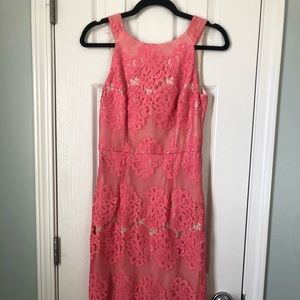 Antonio Melani coral lace overlay midi dress-2